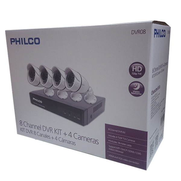 KIT DVR PHILCO HD 8CH + 4 CAMARAS