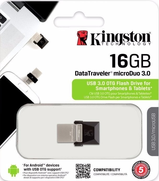 PENDRIVE KINGSTON DATA TRAVELER  16GB MICRODUO 3.0